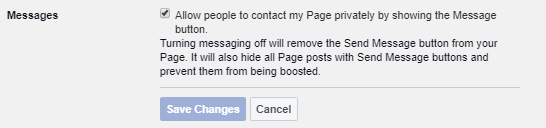 Allow Facebook direct messages on business page