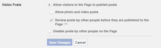 Facebook visitor post setting