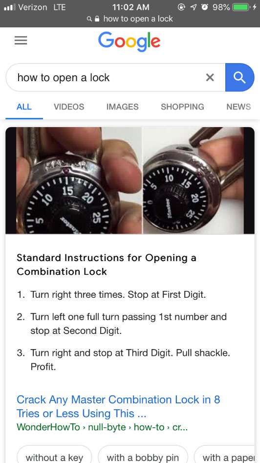 mobile google search engine results page of query how to open a lock