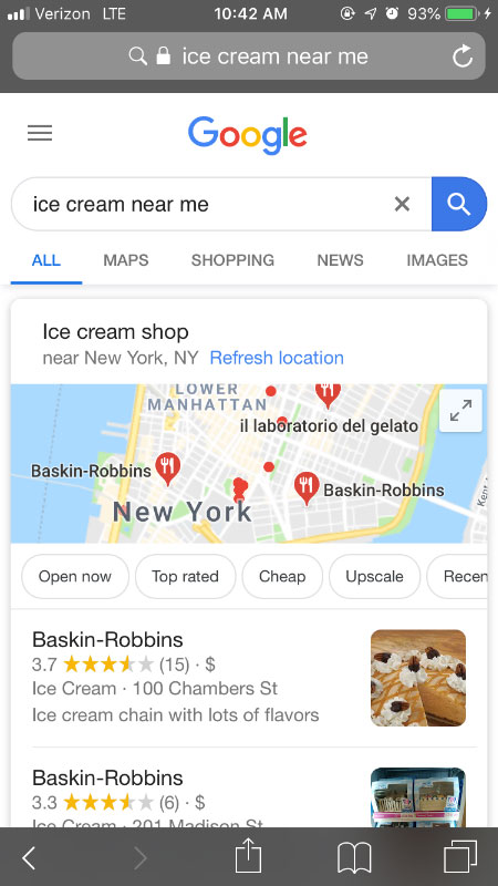 Screenshot of mobile search google serp of ice cream near me