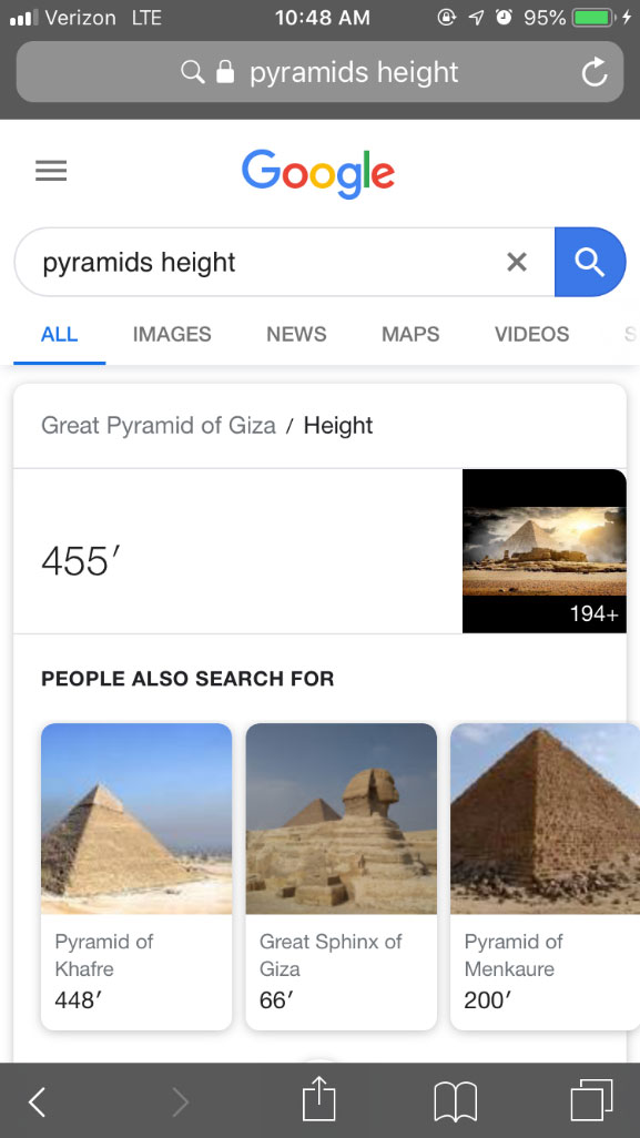 Google search engine result page on mobile device with query pyramids height