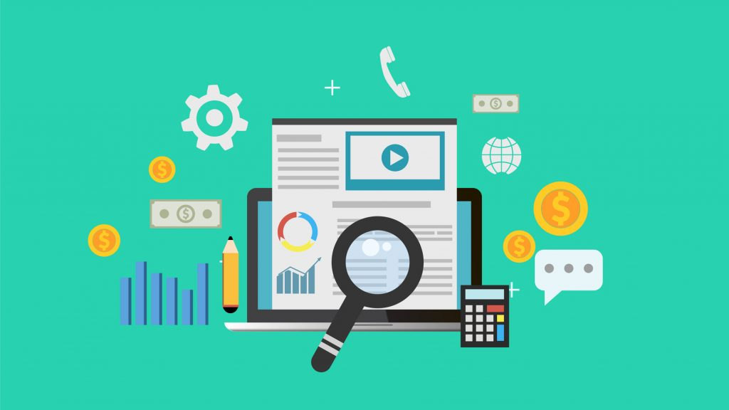 Graphic showing magnifying glass and website elements to convey search engine optimization also known as seo