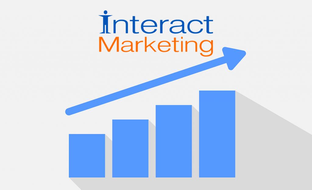chart showing upward growth with interact marketing logo