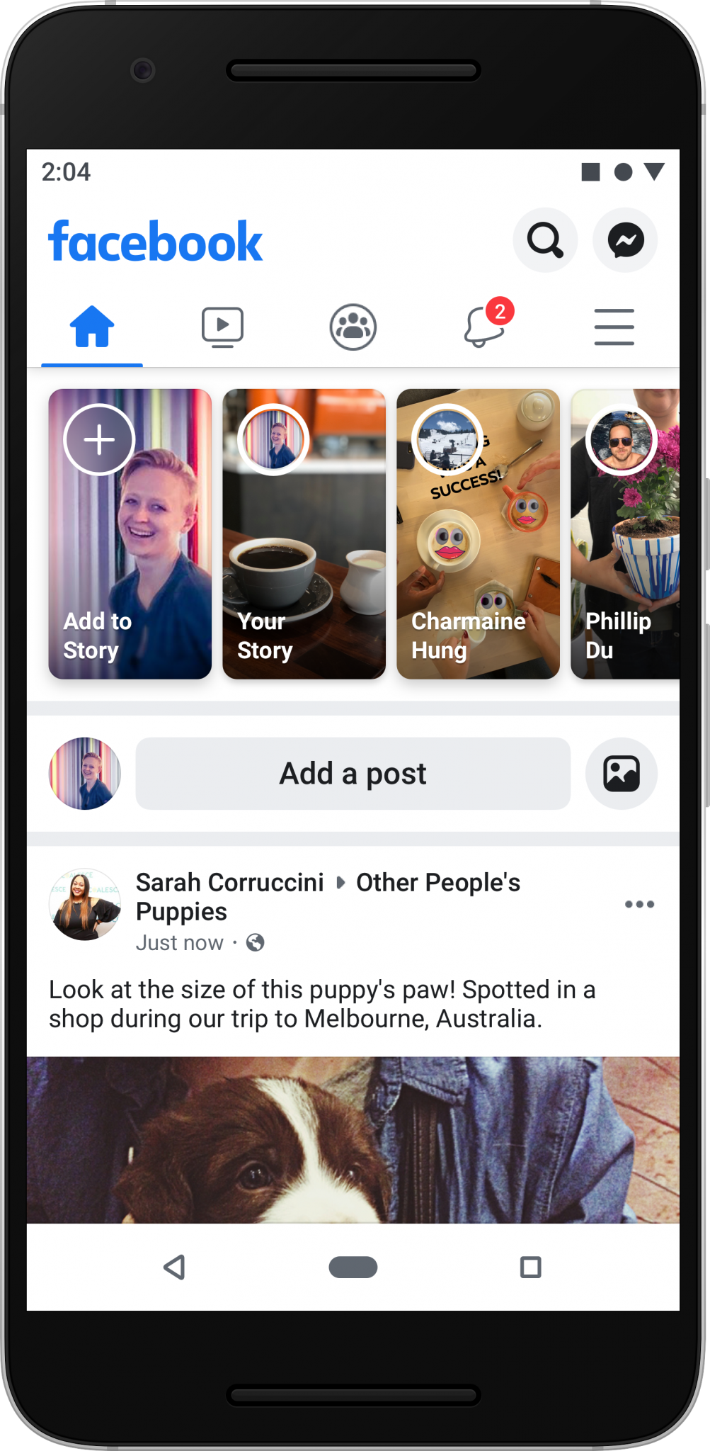 Mobile view of Facebook's new app interface home page