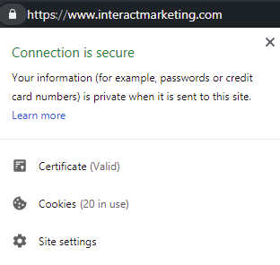 screenshot of connection is secure ssl certificate on interactmarketing.com