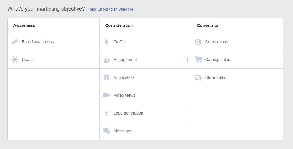 campaign goals in Facebook's Ads Mangaer