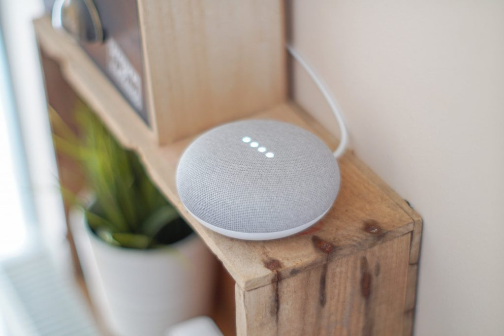 google home on shelf
